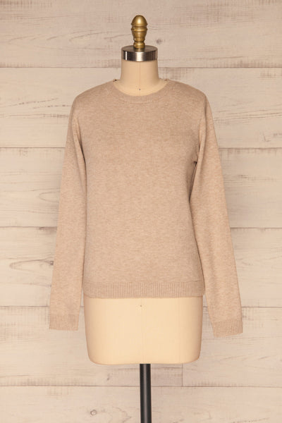 Tavira Beige Long Sleeve Knit Top | La petite garçonne front view