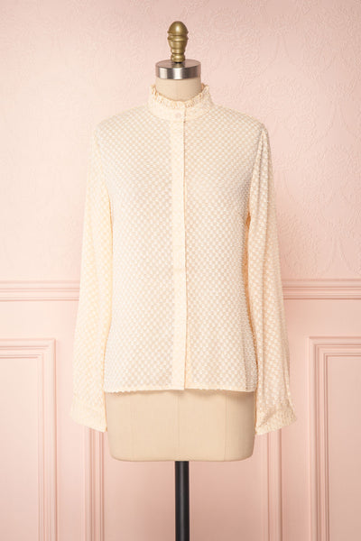 Tayce Pink Beige Shirt with Stand Collar and Plumetis | Boutique 1861 front view