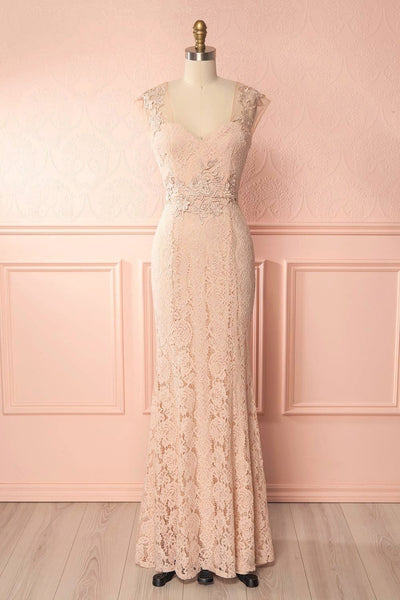 Teala Blush Lace Open-Back Mermaid Gown front view | Boudoir 1861