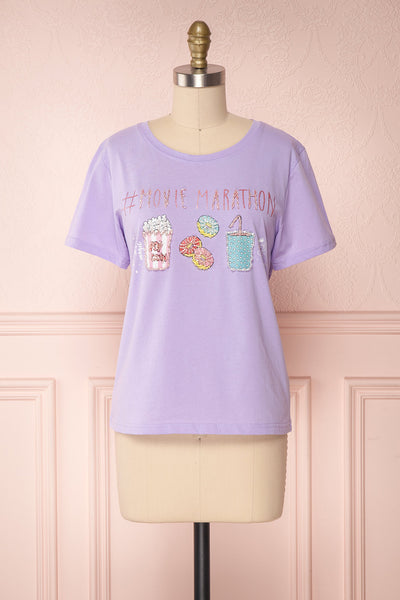 Teroro Purple T-Shirt w/ Bedazzled Print | Boutique 1861