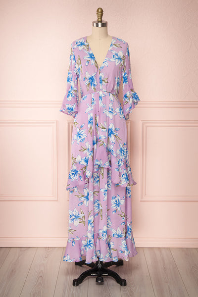 Tetua Lilas Purple Floral Ruffled Maxi Dress | Boutique 1861