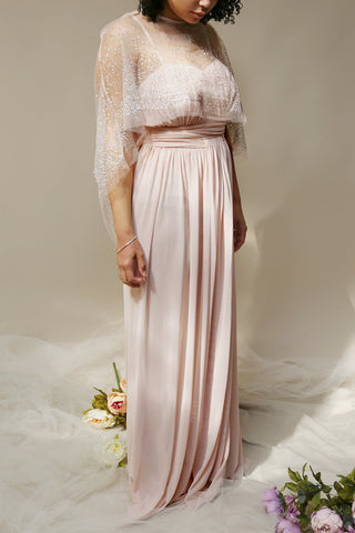 Tevaiho Blush Pink Empire Gown w/ Silver Glitter Cape | Boutique 1861