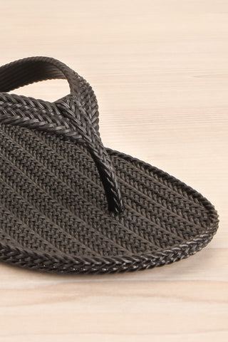 "Texel Black ""Braided"" Slip-On Sandals 
