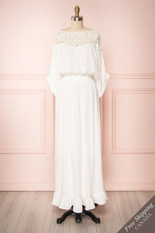 Thailla White Maxi A-Line Dress with Lace | Boutique 1861