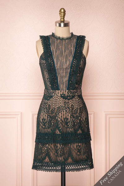 Theadora Green Lace Dress | Robe Cocktail | Boutique 1861 front view