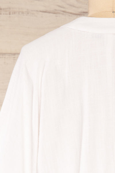 Thebes White Linen Kimono Style Crop Top | La petite garçonne back close-up