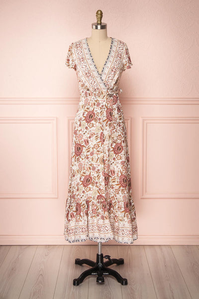 Thugasi Taupe & Pink Floral Wrap Summer Dress | Boutique 1861