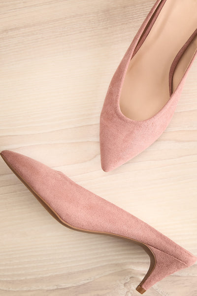 Timide Rose Pink Pointed Toe Low Heeled Mules | La Petite Garçonne