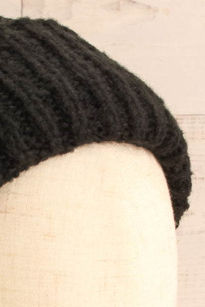 Timpaki Black Knit Tuque on mannequin close-up | La Petite Garçonne
