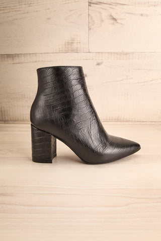 Tobi Black Crocodile Skin Heeled Ankle Boots side view | La Petite Garçonne