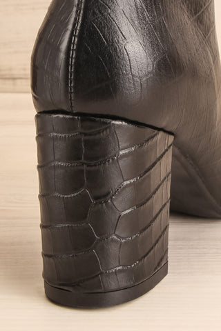 Tobi Black Crocodile Skin Heeled Ankle Boots back heel close-up | La Petite Garçonne