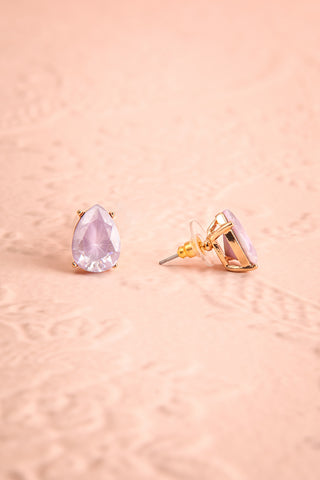 Tokai Lilas Lilac Crystal Teardrop Stud Earrings | Boudoir 1861