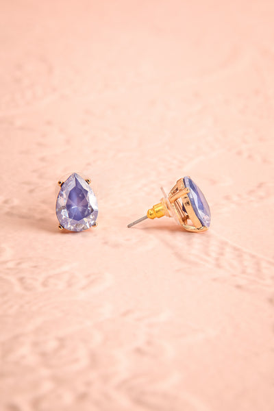 Tokai Mer Light Blue Crystal Teardrop Stud Earrings | Boudoir 1861