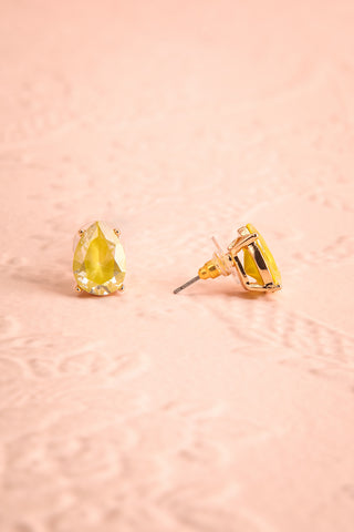Tokai Soleil Yellow Crystal Teardrop Stud Earrings | Boudoir 1861