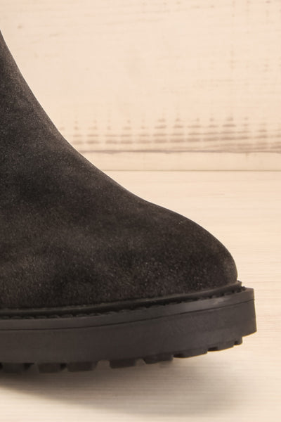Tokio Black Vegan Suede Chelsea Boots front close-up | La Petite Garçonne