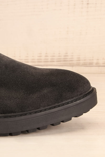 Tokio Black Vegan Suede Chelsea Boots side front close-up | La Petite Garçonne