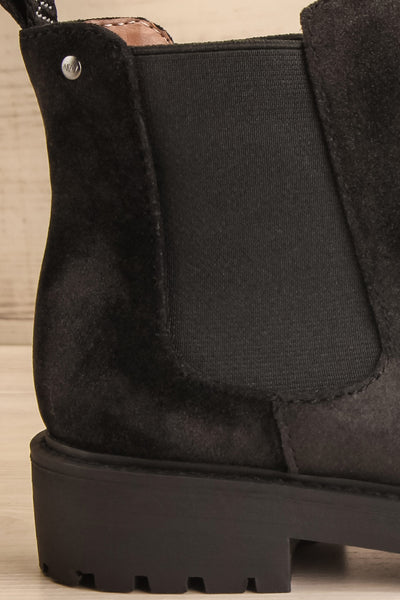 Tokio Black Vegan Suede Chelsea Boots side close-up | La Petite Garçonne