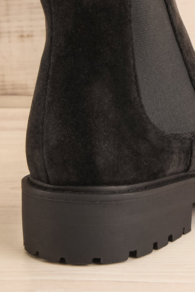 Tokio Black Vegan Suede Chelsea Boots back close-up | La Petite Garçonne