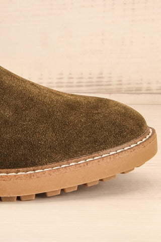 Tokio Olive Green Vegan Suede Chelsea Boots side front close-up | La Petite Garçonne