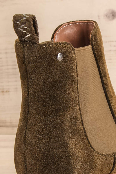 Tokio Olive Green Vegan Suede Chelsea Boots close-up | La Petite Garçonne