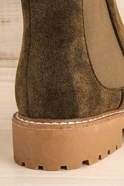 Tokio Olive Green Vegan Suede Chelsea Boots back close-up | La Petite Garçonne