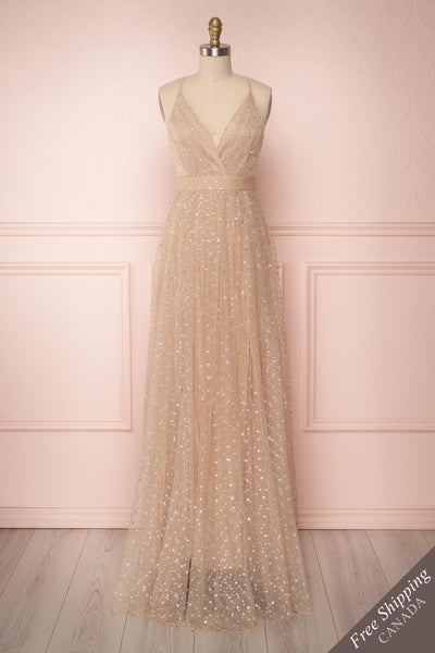 Tokoname Beige & Silver Mesh Maxi Dress | Boutique 1861