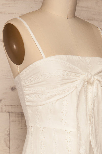 Tondella White Lace Openwork Romper | La petite garçonne side close-up