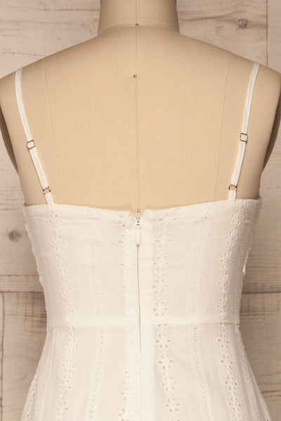 Tondella White Lace Openwork Romper | La petite garçonne back close-up