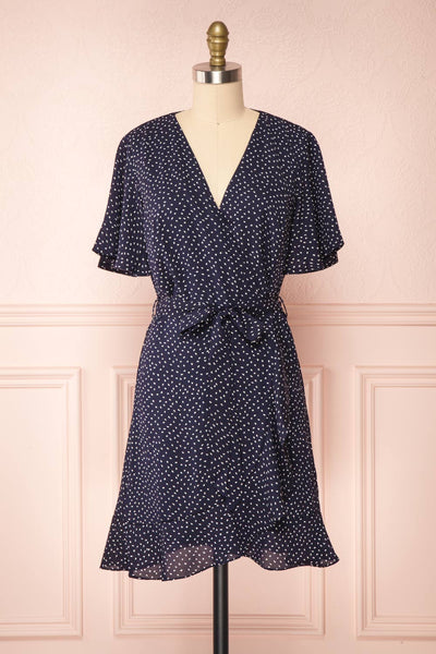 Traudel Navy Patterned Faux Wrap Dress | Boutique 1861 front view