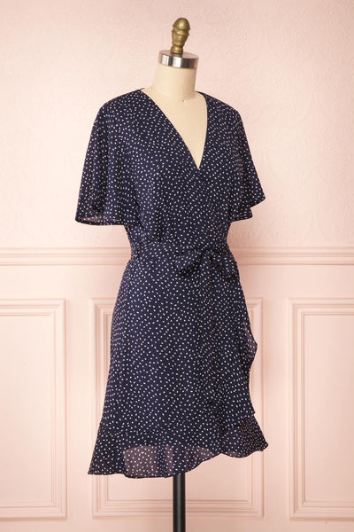 Traudel Navy Patterned Faux Wrap Dress | Boutique 1861 side view