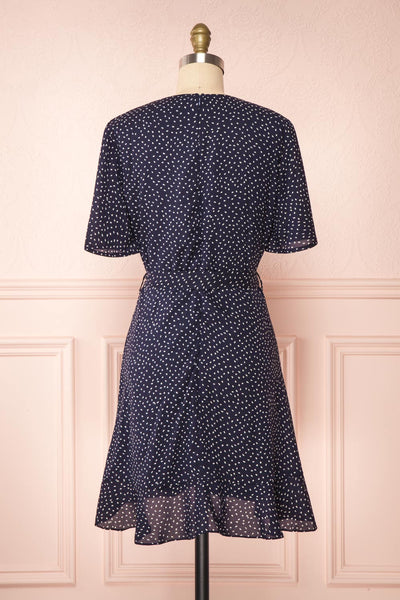 Traudel Navy Patterned Faux Wrap Dress | Boutique 1861 back view