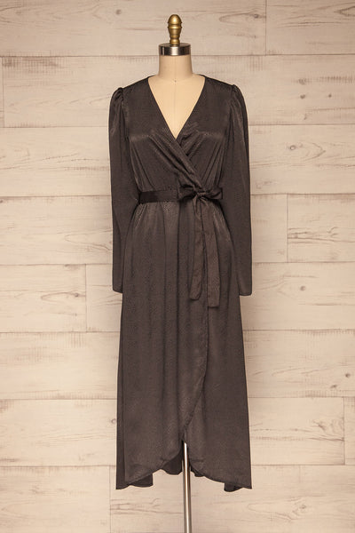 Trieste Dark Grey Satin Dress | Robe front view | La Petite Garçonne