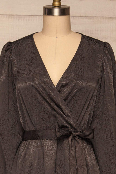 Trieste Dark Grey Satin Dress | Robe front close up | La Petite Garçonne
