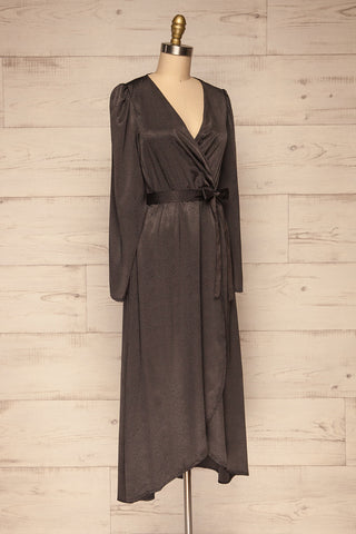 Trieste Dark Grey Satin Dress | Robe side view | La Petite Garçonne
