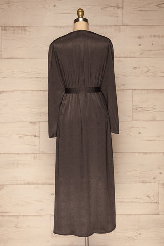 Trieste Dark Grey Satin Dress | Robe back view | La Petite Garçonne