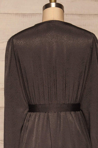 Trieste Dark Grey Satin Dress | Robe back close up | La Petite Garçonne