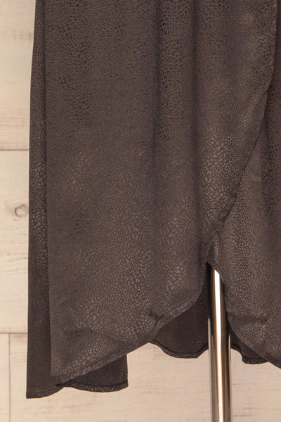 Trieste Dark Grey Satin Dress | Robe skirt close up | La Petite Garçonne