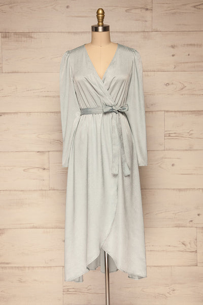 Trieste Pale Blue Satin Dress | Robe front view | La Petite Garçonne