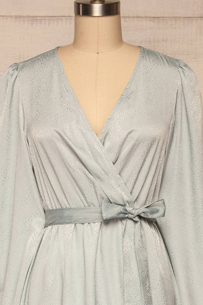 Trieste Pale Blue Satin Dress | Robe front close up | La Petite Garçonne