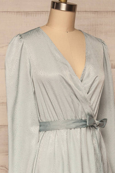 Trieste Pale Blue Satin Dress | Robe side close up | La Petite Garçonne