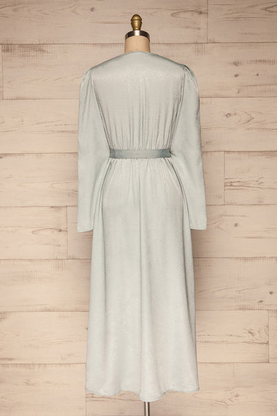 Trieste Pale Blue Satin Dress | Robe back view | La Petite Garçonne