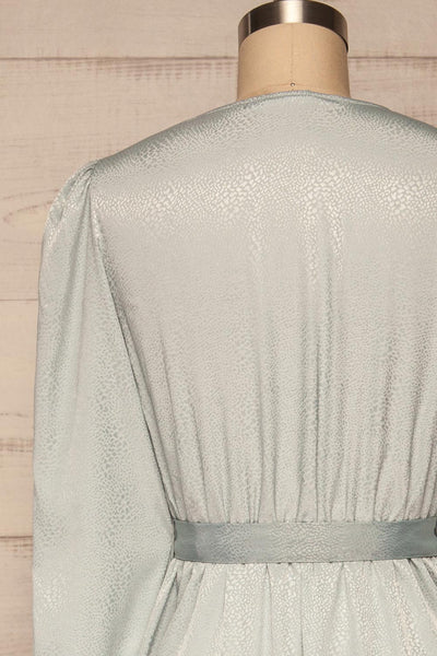 Trieste Pale Blue Satin Dress | Robe back close up | La Petite Garçonne