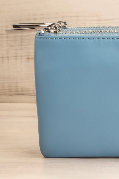 Tripletta Bleu Blue Vegan Clutch Bag | La petite garçonne front close-up