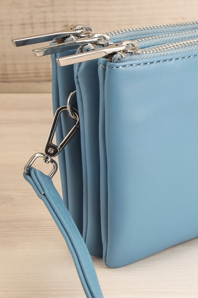 Tripletta Bleu Blue Vegan Clutch Bag | La petite garçonne side close-up