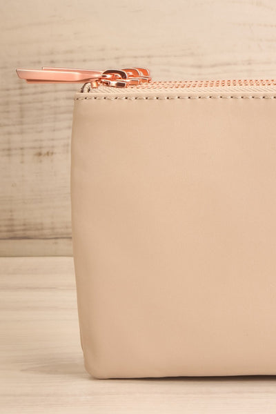 Tripletta Taupe Vegan Clutch Bag | La petite garçonne front close-up