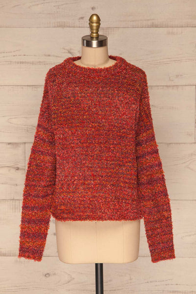 Tychy Rouge Red Knit Sweater | Tricot Doux | La Petite Garçonne front view