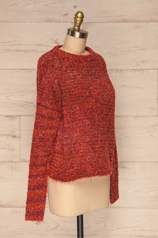 Tychy Rouge Red Knit Sweater | Tricot Doux | La Petite Garçonne side view