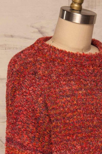 Tychy Rouge Red Knit Sweater | Tricot Doux | La Petite Garçonne side close up