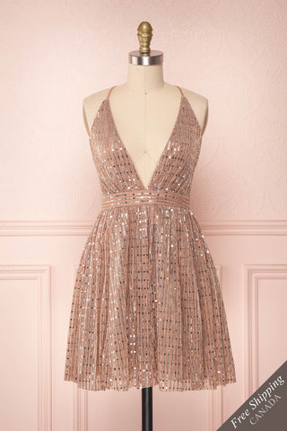 Tziona Rosegold & Silver Metallic Party Dress | Boutique 1861