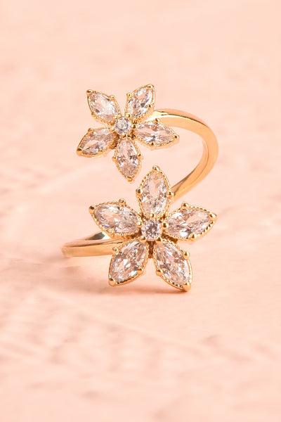 Unisonus Open Golden Ring w Crystal Flowers | Boutique 1861 2